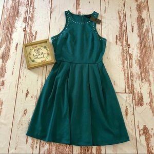 Mossimo teal studded pleated dress NWT!